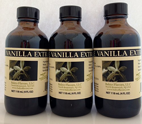 Bakto Flavors Pure Vanilla Extract - Madagascar -4 OZ (Pack of 3) by Bakto Flavors