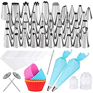 Gyvazla 72 Pieces Cake Decorating Set, Including 50 Icing Tips, 10 Disposable Icing Bags, 2 Reusable Piping Bags, 2 Flower Nails, 2 Couplers, Clean Brush, 5 Cupcakes for Cakes Cupcakes Cookies Pastry