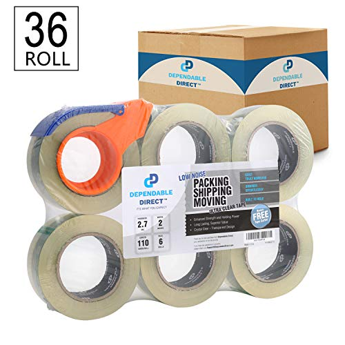 Quiet, Industrial Grade Clear Packing Tape (36 Rolls) - 110 Yards per Roll - 2