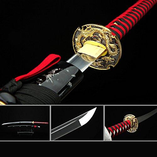 Dragon katana,Platinum Quality Fully Handmade Japanese Katana Samurai Sword (Red Handle-Golden Dragon)