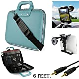 Sky Blue Cady Executive Leather Hard Cube Carrying Case with Shoulder Strap For Barnes & Noble NOOK HD 7-inch Tablet + Auxiliary+ Windshield Car Mount