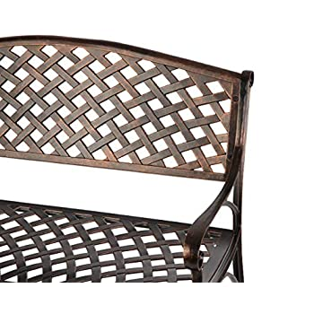 Patio Sense Antique Bronze Cast Aluminum Patio Bench