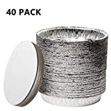 XIAFEI 40-Pack of 9-Inch Round Foil Pans with 40 Board Lids - Disposable Aluminum Foil Cake Trays - Freezer & Oven Safe - for Baking, Cooking, Storage & Reheating