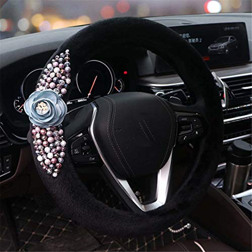 HKGHVJK Flower Plush Winter Steering Wheel Cover Colorful Pearl Crystal Auto Fur Steering Wheel Covers Car Accessories Women Girls Blue