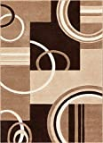 Echo Shapes & Circles Ivory / Beige Brown Modern Geometric Comfy Casual Hand Carved Area Rug 8x10 8x11 ( 7'10' x 9'10' ) Easy Clean Stain Resistant Abstract Contemporary Thick Soft Plush Living Room