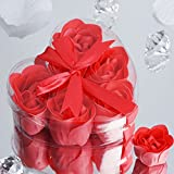 BalsaCircle 50 Gift Boxes with 6 Rose Soaps - Watermelon Red