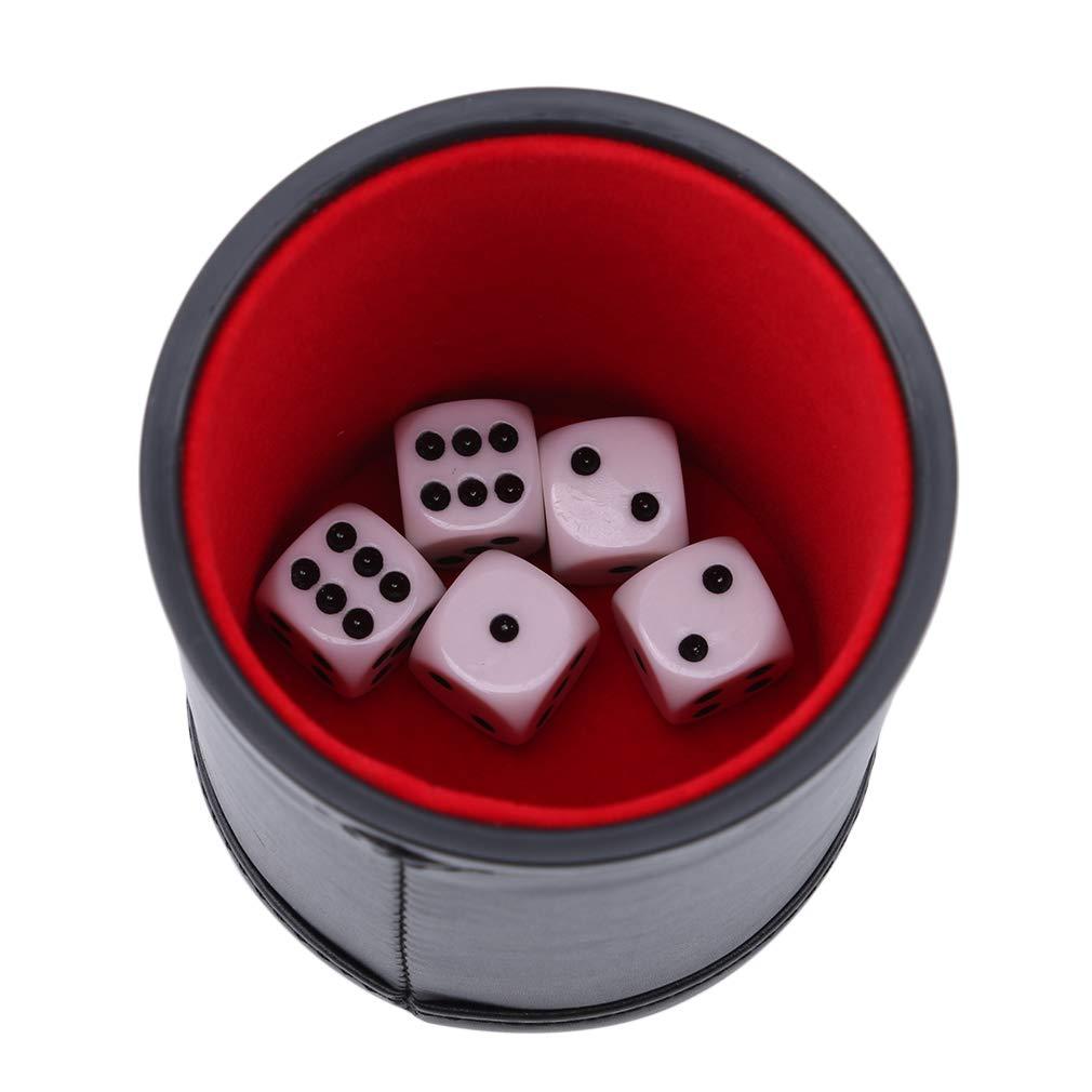 darunter 5 wei/ße W/ürfel Hengxing Leather Dice Cup Shaker mit versteckter W/ürfel-Aufbewahrungsbox f/ür die meisten W/ürfelspiele