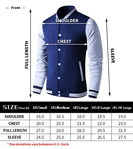 LTIFONE Mens Lightweight Varsity Jacket Button Down Baseball College Letterman Jacket(Blue,L) by LTIFONE (Image #5)