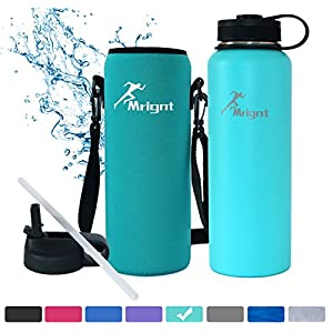 Stainless Steel Vacuum Insulated 40/32 OZ Sports Water Bottle|Best Water Bottle for Men&Women|BUY ONE GET THREE FREE GIFTS-A Straw Lid& A Bottle Pouch & A Bottle Brush-Mint 40