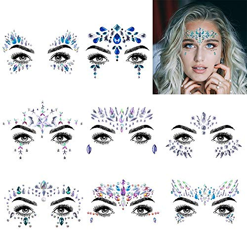 Face Jewels Glitter Temporary Tattoo, 8 Pcs Body Rhinestone Jewelry Stickers Crystal Mermaid Eyes Tears Gems Stones for Festival Party Women by IeBilif