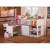 Savannah Storage Loft Bed with Desk, White (Loft Bed)