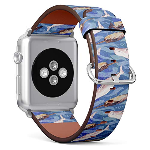 [ Compatible Small Apple Watch 38/40 mm ] Replacement Leather Band Bracelet Strap Wristband Accessory // Beluga Narwhal Watercolor - Wrist Ladies Watch Beluga