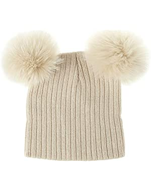 Cute Baby Two Hair Balls Series Knit Hat Comfortable Warmth and Elasticity