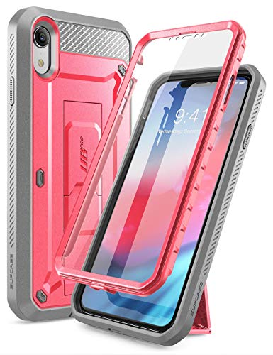 SUPCASE iPhone XR Case, iPhone XR Full-Body Rugged Holster Kickstand Case with Built-in Screen Protector for Apple iPhone XR 6.1 Inch (2018 Release), Unicorn Beetle Pro Series (Pink) ()
