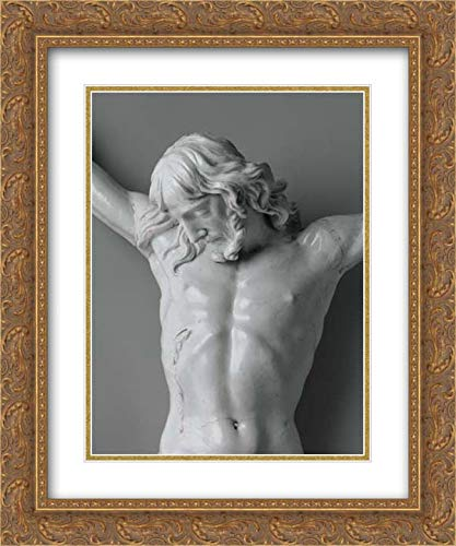 Doccia Porcelain Manufactory - 28x36 Gold Ornate Frame and Double Matted Museum Art Print - Corpus from a Crucifix