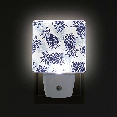 LORVIES Navy Blue Pineapple Pattern Plug in LED Night Light Auto Sensor Smart Dusk to Dawn Decorative Night for Bedroom, Bathroom, Kitchen, Hallway, Stairs,Hallway,Baby's Room, Energy Saving by LORVIES