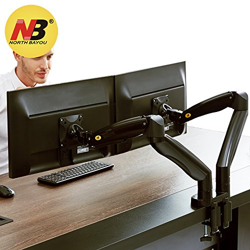 NB North Bayou Dual Monitor Desk Mount Stand Full Motion Swivel Computer Monitor Arm Gas Spring fits 2 Screens up to 32'' 19.8lbs Each Monitor Black