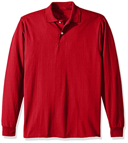 Jerzees Men's Spot Shield Long Sleeve Polo Sport Shirt, True Red, Large