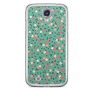 Floral Samsung Galaxy S4 Transparent Edge Case - Dark Green