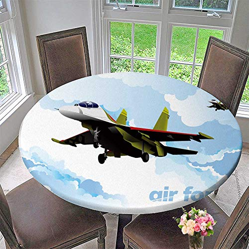 PINAFORE HOME Round Tablecloth Air Force Team. Vector for Kitchen 31.5