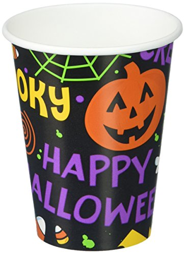 Spooktacular Halloween Gang Reusable Paper Cups, 9 Ounces, Pack of 18.