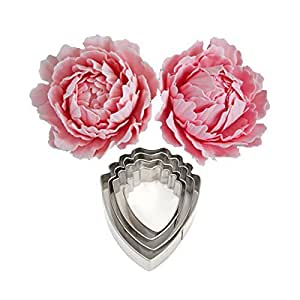 KOOTIPS 4 pcs Set of Peony Flower Cutter Decor Fondant Cake Cutters for Stainless Steel