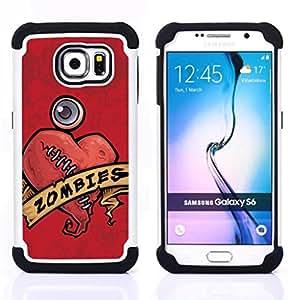 - zombie heart stiches red drawing art sign/ H??brido 3in1 Deluxe Impreso duro Soft Alto Impacto caja de la armadura Defender - SHIMIN CAO - For Samsung Galaxy S6 G9200