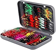 Fly Fishing Flies Lure Kit - 100pcs Handmade Wet Dry Flies Streamer Nymph Emerger Fly Lures Bait Hook for Bass