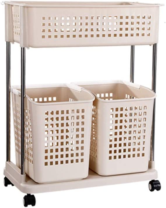 GSZ 2-Tier Rolling Laundry Basket Cart with 4X Wheels, 3X Plastic Laundry Box, Detachable Steel Frame and 4X Poly White Hook, Laundry Sorter Hamper Washing Bin (Color : Yellow)