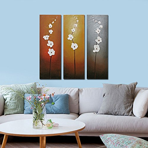 Wieco Art 3 Piece White Flowers Oil Paintings on Canvas Wall Art for Living Room Bedroom Home Decorations Modern Stretched and Framed 100 Hand Painted Contemporary Grace Abstract Floral Artwork
