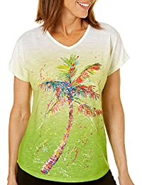 Womens Palms Away Ombre Top