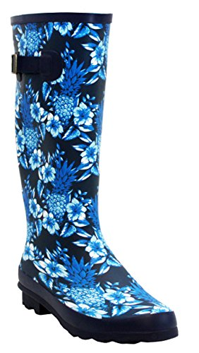 8 Blue Waterproof UK Rain Snow Mud Floral Womens Wellington Ladies Girls Boots Sizes Rubber 3 Wellies Festival 6HwBnZq