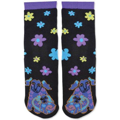 Laurel Burch Womens Single Pack Vriendelijke Animal Slipper Socks Dog & Flower