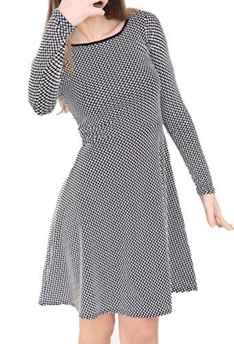 Women's dot 14 Plus Dress Party Monochrome Contrast Skater Size Mini Black Ladies Polka qqwxA1SC