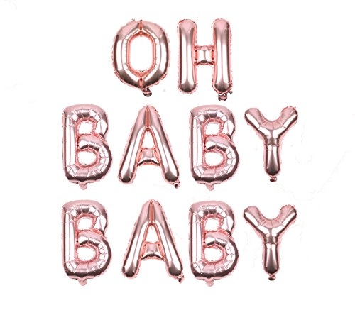 Oh Baby Baby Rose Gold Baby Shower Foil Balloon Banner Decor