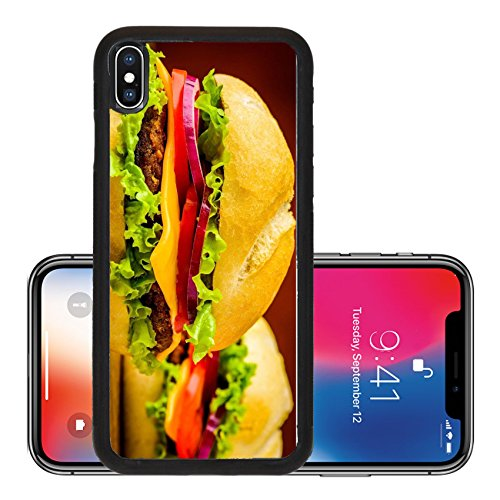 Liili Premium Apple iPhone X Aluminum Backplate Bumper Snap Case ID: 23417170 still life with traditional american homemade cheeseburger closeup detail