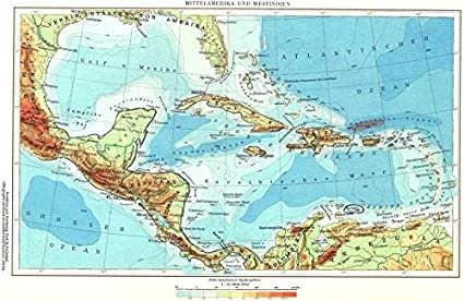 CENTRAL AMERICA. Mittelamerika Westindien; Caribbean West Indies - 1958 -  old map - antique map - vintage map - Central America maps