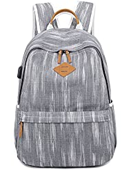 Yousu Women Water-resistant Canvas Backpack Classic Vintage College Backpack Casual Girls School Bag with USB...