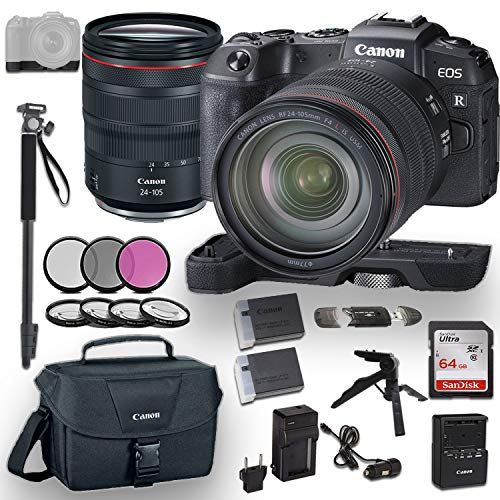 Canon EOS RP Mirrorless Digital Camera with RF 24-105mm f/4L is USM Lens and Canon Camera Extension Grip Bundled with Deluxe Accessories Like Memory Card, Steady Grip Tripod, Monopod and More…