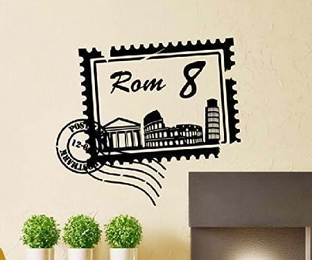 Tatuaje de Pared Skyline Roma Ciudad Sellos Sello de Correos Marca ...