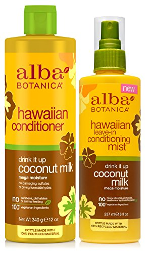 (Alba Botanica Natural Hawaiian Conditioner Coconut Milk with Coconut Milk Leave-in Conditioning Mist)