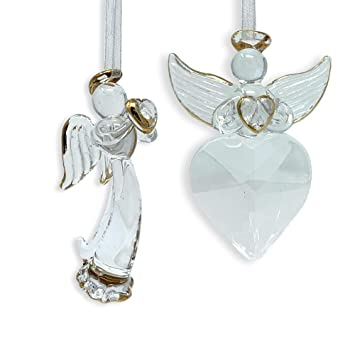 Banberry Designs Angel Christmas Decorations Set Of 2 Crystal Angels Hanging Angels With Gold Trim And Angel Wings