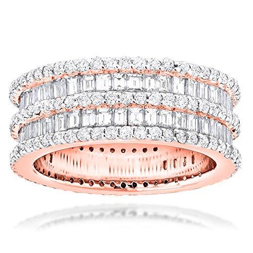 (Luxurman Designer Eternity Ring 14K Round Baguette Natural Diamonds Band (Rose Gold Size 8))