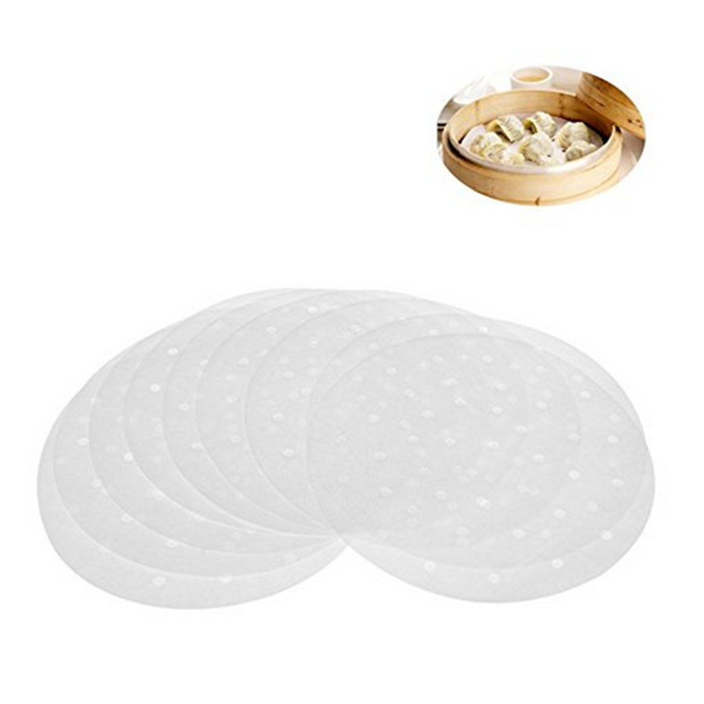 HENGSONG 50 PCS Round Steamer Paper Liners 9 Inch for Bamboo Steamer Air Fryer Steaming Basket mei_mei9