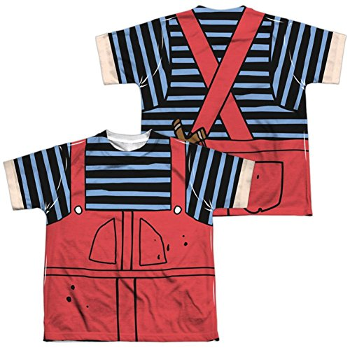 Dennis And Gnasher Costume (Youth: Dennis The Menace- Dennis Costume Tee (Front/Back) Kids T-Shirt Size YM)