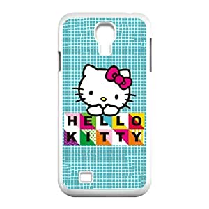 Samsung Galaxy S4 9500 Cell Phone Case White Hello Kitty Blue Pattern FXS_679405