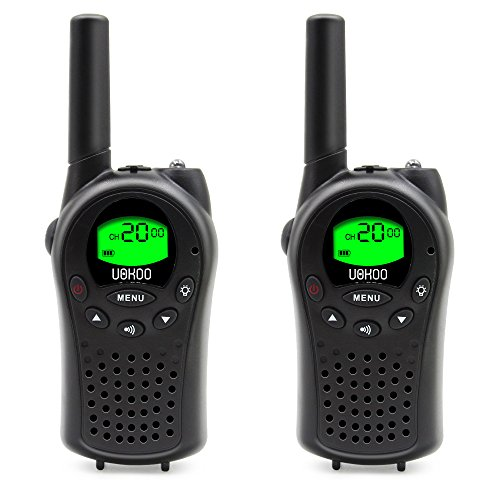Walkie Talkies for Kids UOKOO Mini Radios Walkie Talkies, 22 Channel FRS/GMRS 400-470Mhz , Intelligent Alarm, Pair Black (668) (G 3 Fishing Boats)