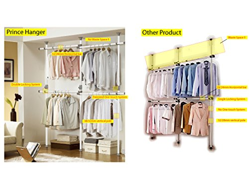 One Touch Double 2 Tier Adjustable Hanger | Prince Hanger | Holding 80kg(176LB) per horizontal bar | Clothing Rack | Closet Organizer | 38mm Vertical pole | Heavy Duty | Garment Rack | PHUS-0033