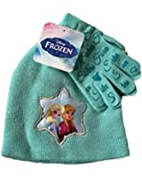 Disney Frozen Elsa and Anna Sister Forever Glittery Knit Cap and Gloves Set