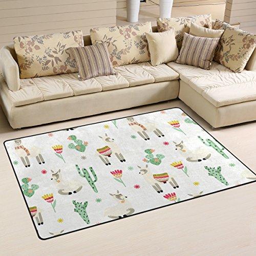 - WellLee Area Rug,Lovely Alpaca in Cactus Flowers Llama Floor Rug Non-Slip Doormat for Living Dining Dorm Room Bedroom Decor 31x20 Inch